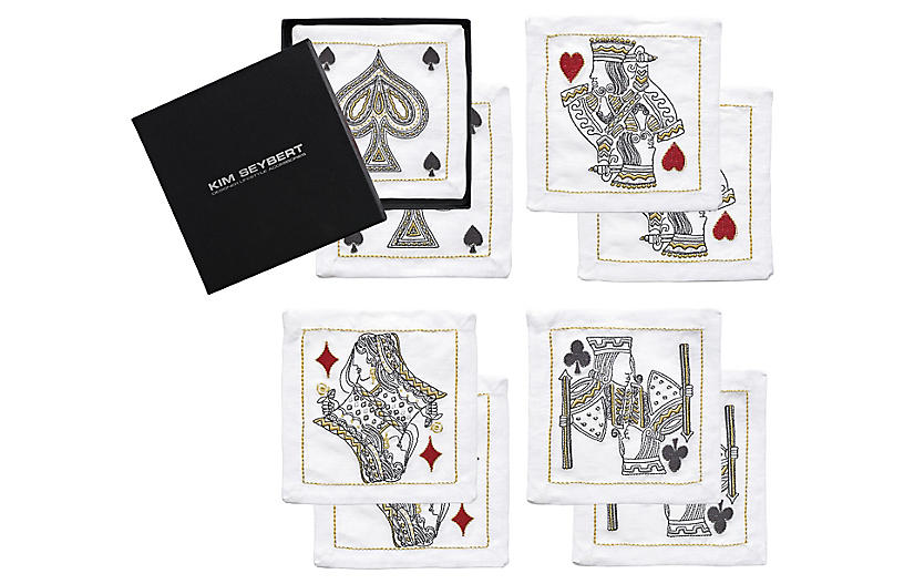 S/8 House of Cards Cocktail Napkins, White/Multi