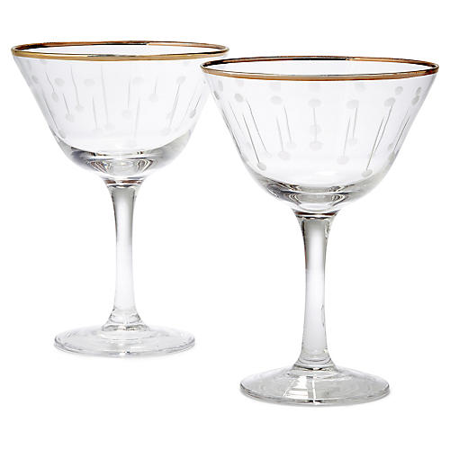 S/2 Stella Raindrop Champagne Coupes, Gold