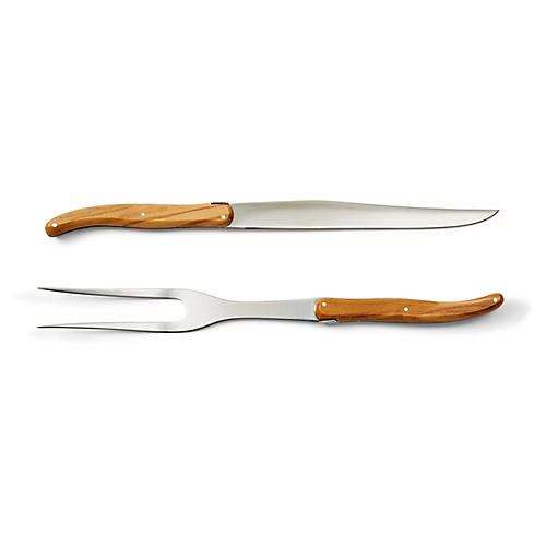 Asst. of 2 Laguiole Carving Set, Natural