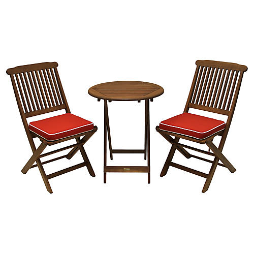 Langley 3 Pc Bistro Set Red
