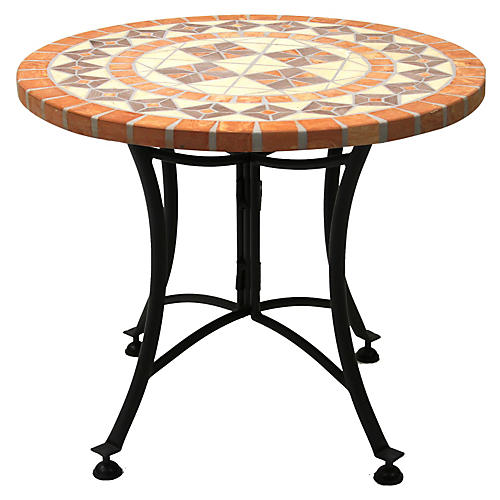 "24""Dia Outdoor Side Table, Terracotta"