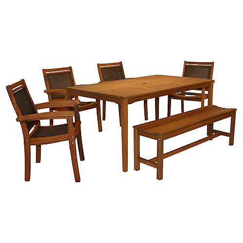 6-Pc Brazilian Dining Set, Brown