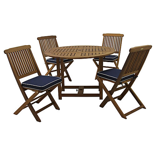 Eucalyptus 5-Pc Dining Set, Navy/White