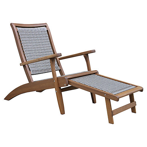 Wicker & Eucalyptus Chaise, Gray