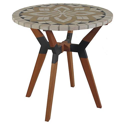 Eucalyptus Bistro Table, Ivory/Multi