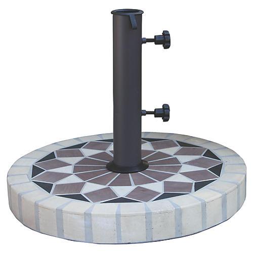Mosaic Round Umbrella Base, Black/Multi