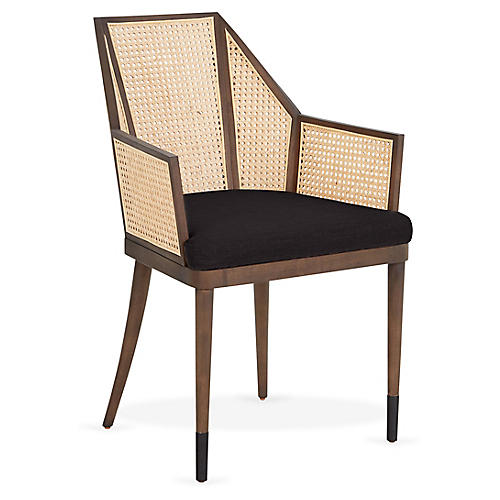 Cane Armchair, Noir Black/Natural