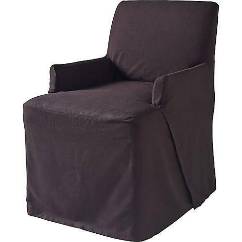 Linen Armchair Slipcover, Black