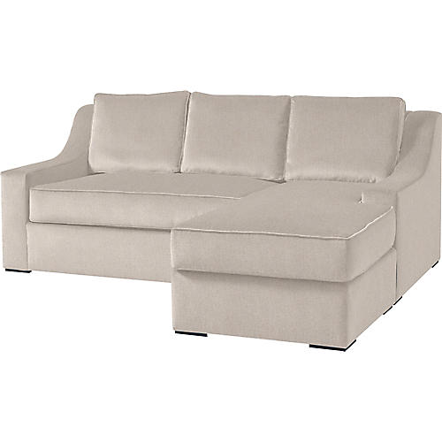 """Studio 71"""" Sectional w/Movable Ottoman, Ivory"""
