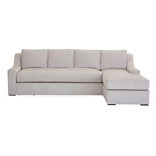 "Studio 114"" Sectional w/Movable Ottoman, Ivory"