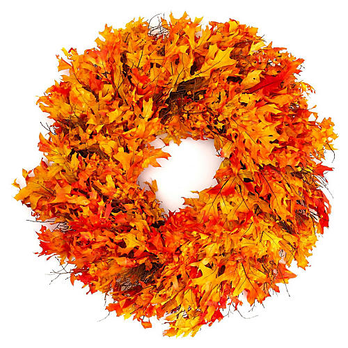 Autumn Oak Wreath, Dried