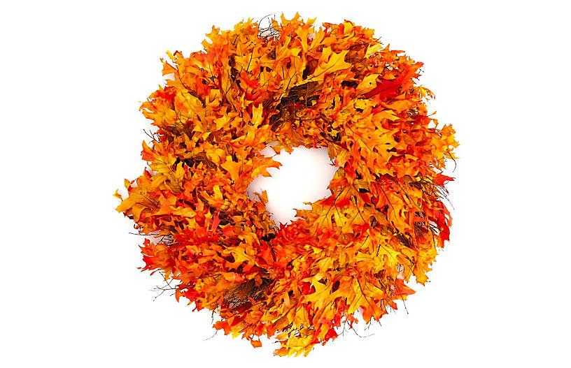 Autumn Oak Wreath, Dried