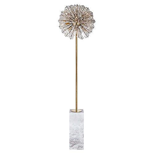 Dickinson Floor Lamp, White Marble/Brass
