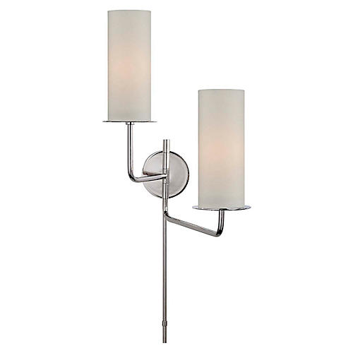 Larabee Double Swing-Arm Sconce, Polished Nickel