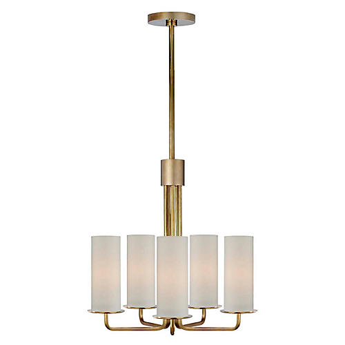 Larabee Small Chandelier, Soft Brass