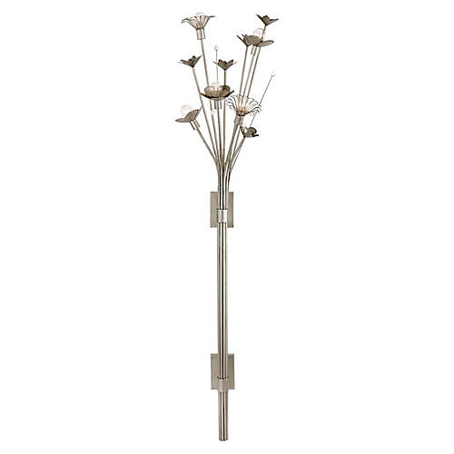 Keaton Bouquet Sconce, Silver Leaf