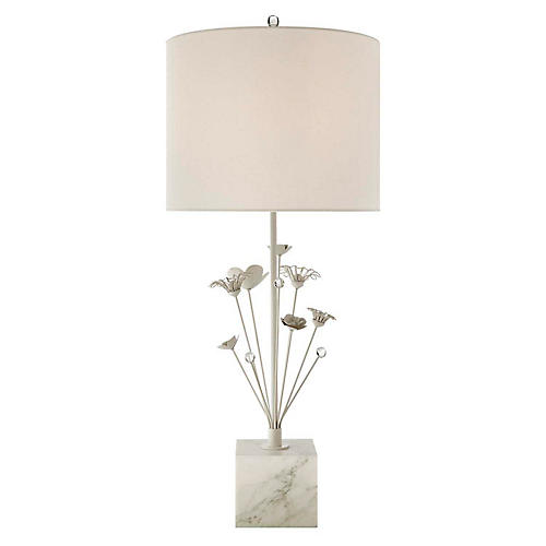 Keaton Bouquet Table Lamp, White Marble/Lt. Cream