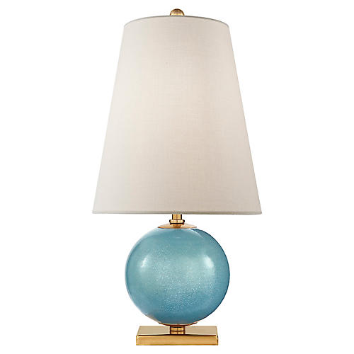 Corbin Table Lamp, Sandy Turquoise/Brass