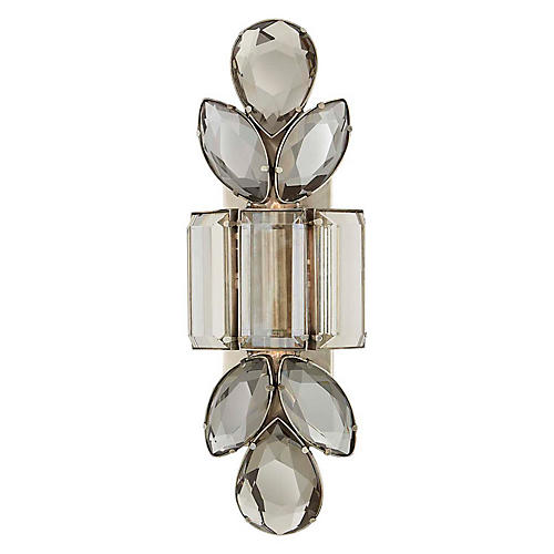 Lloyd Large Sconce, Antiqued Nickel/Smoky Crystal