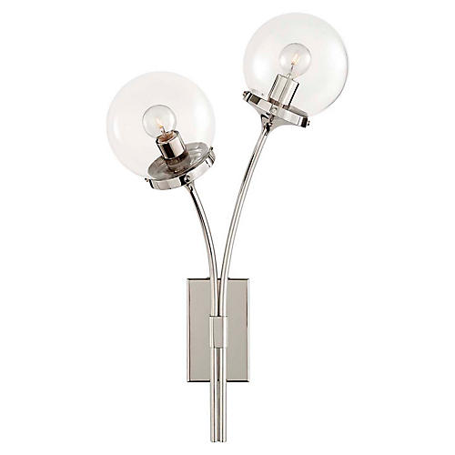 Prescott Left-Facing Sconce, Polished Nickel