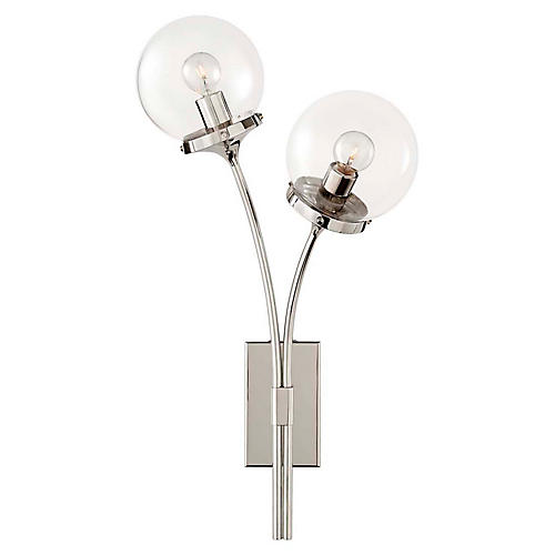 Prescott Right-Facing Sconce, Polished Nickel