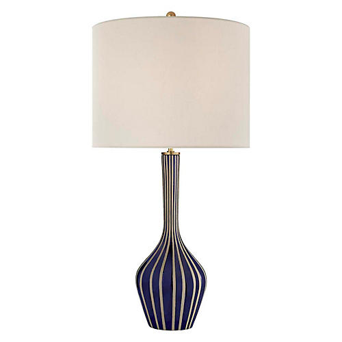 Parkwood Large Table Lamp, Bisque/Cobalt