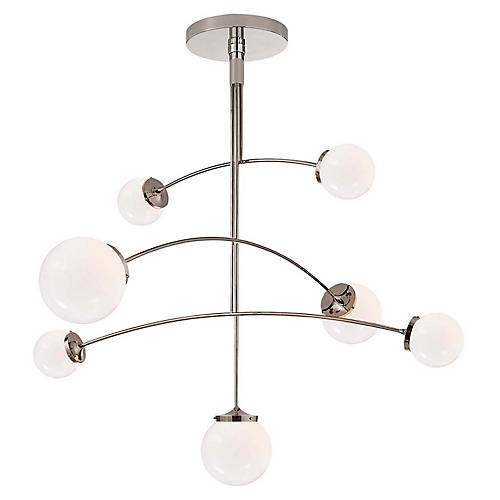 Prescott Large Mobile Chandelier, Nickel/White