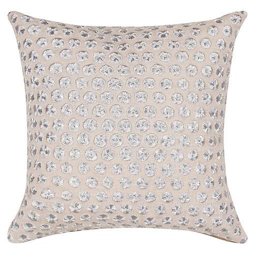 Yorkville 18x18 Tribal Pillow, Silver/Beige Linen