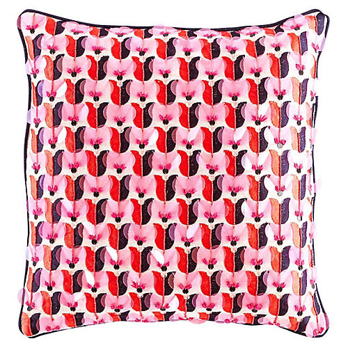 Yorkville 18x18 Square Pillow, Coral/Multi Linen