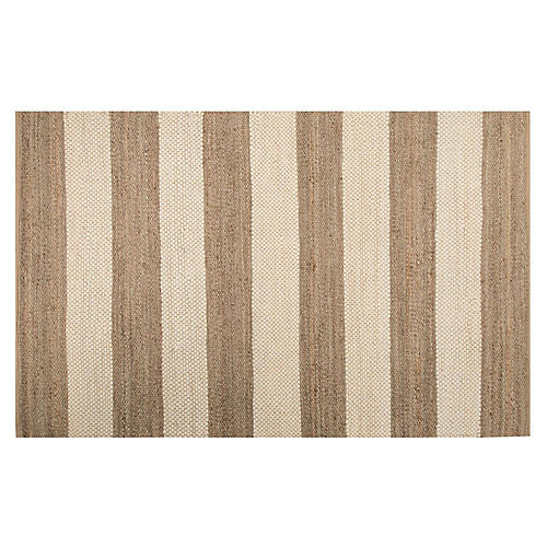 Stripes Jute-Blend Rug, Off-White