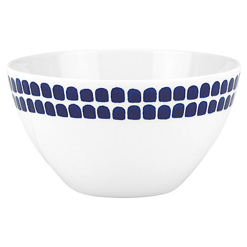 Charlotte Street North Soup Bowl, White/Blue