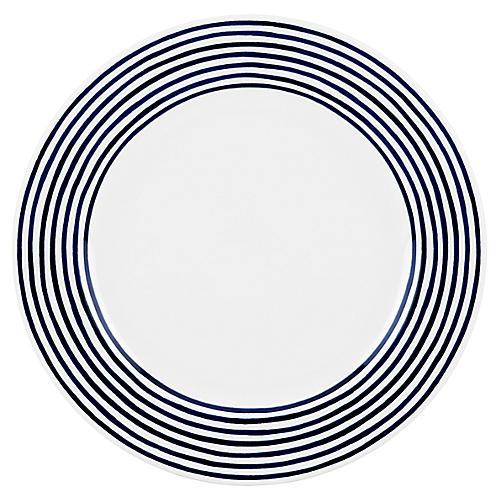 Charlotte Street East Dinner Plate, White/Blue