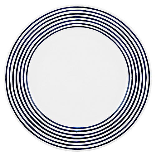 Charlotte Street East Dinner Plate, White/Blue