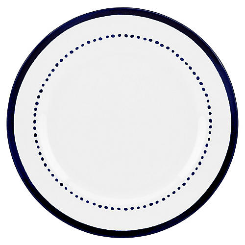Charlotte Street West Dinner Plate, White/Blue