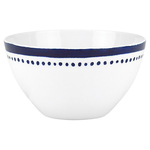 Charlotte Street West Soup Bowl, White/Blue