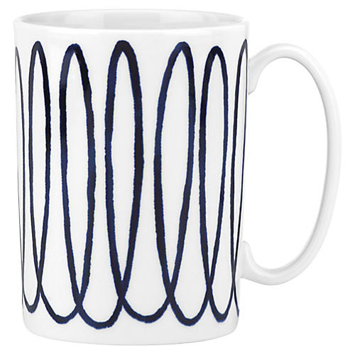 Charlotte Street West Mug, White/Blue