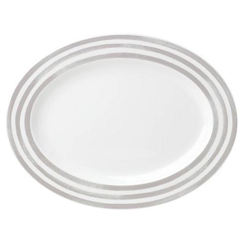 Charlotte Street Oval Platter, White/Gray