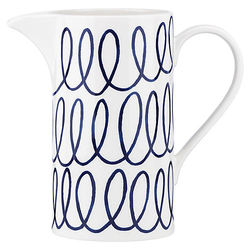 Charlotte Street Pitcher, White/Blue