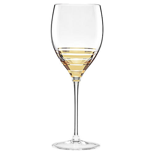 Hampton Street Wineglass, Clear/Gold