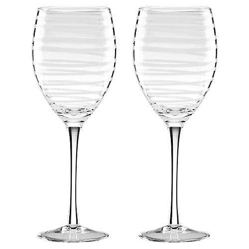 S/2 Charlotte Street Wineglasses, Clear/White