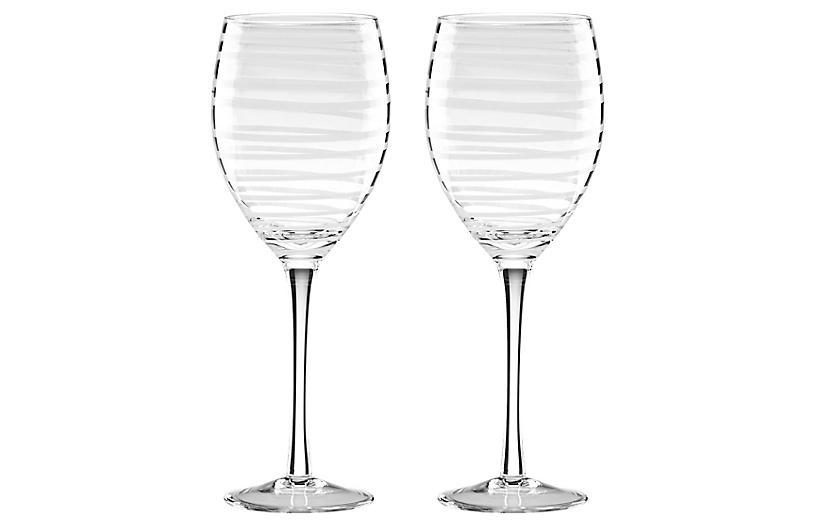 S/2 Charlotte Street Wineglasses, Clear/White