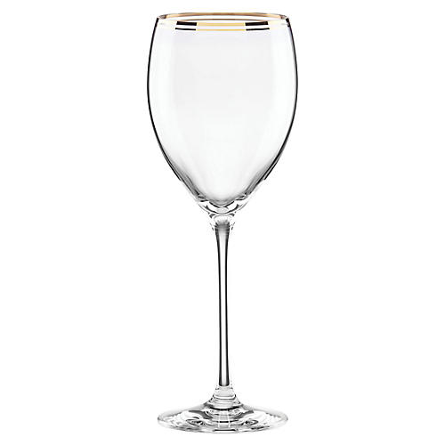 Orleans Square Wineglass, Clear/Gold