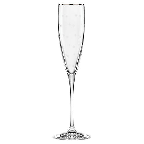 Larabee Dot Champagne Flute, Clear/Platinum