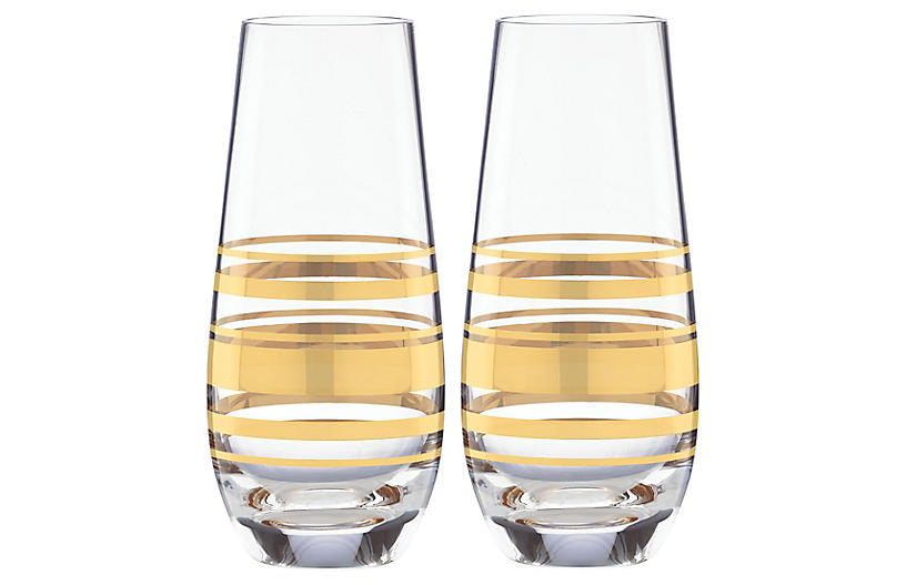 S/2 Hampton Street Champagne Flutes, Clear/Gold