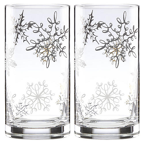 S/2 Jingle All the Way Highball Glasses, Clear