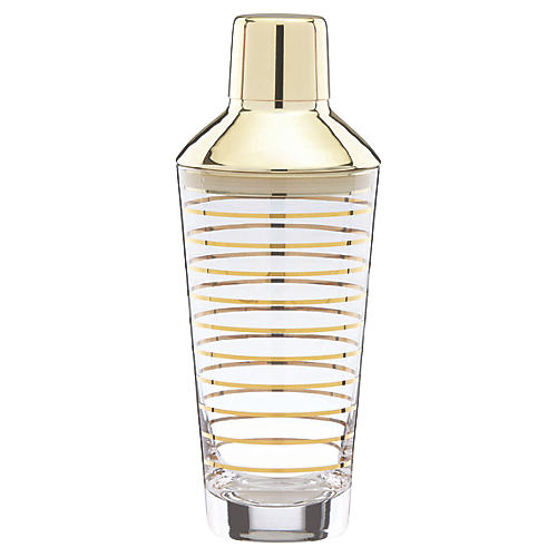 Melrose Ave. Cocktail Shaker, Clear/Gold