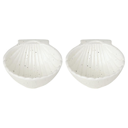 S/2 Cannon Street Shell Bowls, White