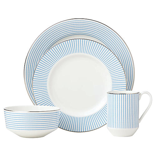Laurel Street Place Setting, Blue/White