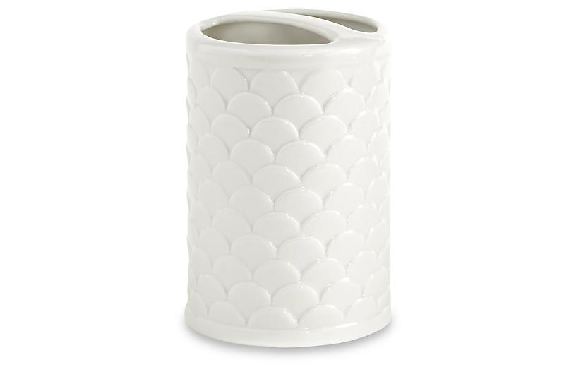 Scala Porcelain Toothbrush Holder - White - Kassatex