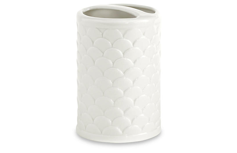Scala Porcelain Toothbrush Holder - White - Kassatex